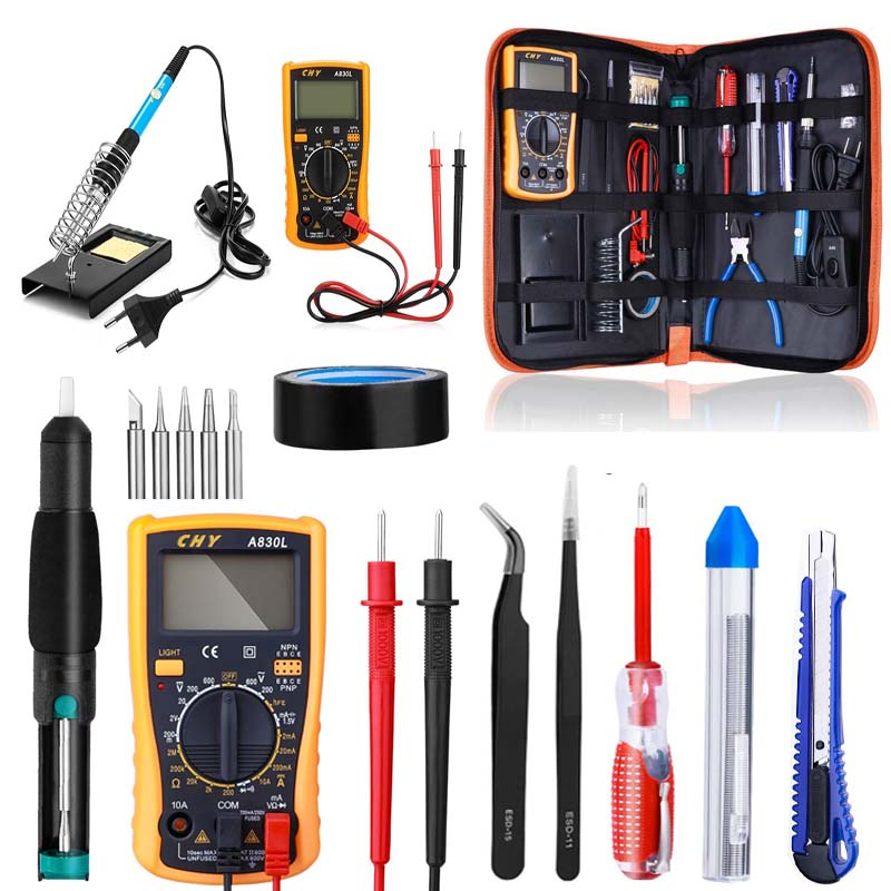 60W Manual Welder Adjustable Temperature Welder Kit + Digital Multimeter Electric Welder Free Shipping