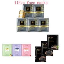 11Pcs mixed 24K Gold mask fruit Remove blackheads Collagen Face Mask Moisturizing Anti-Aging black Facial Masks face skin care