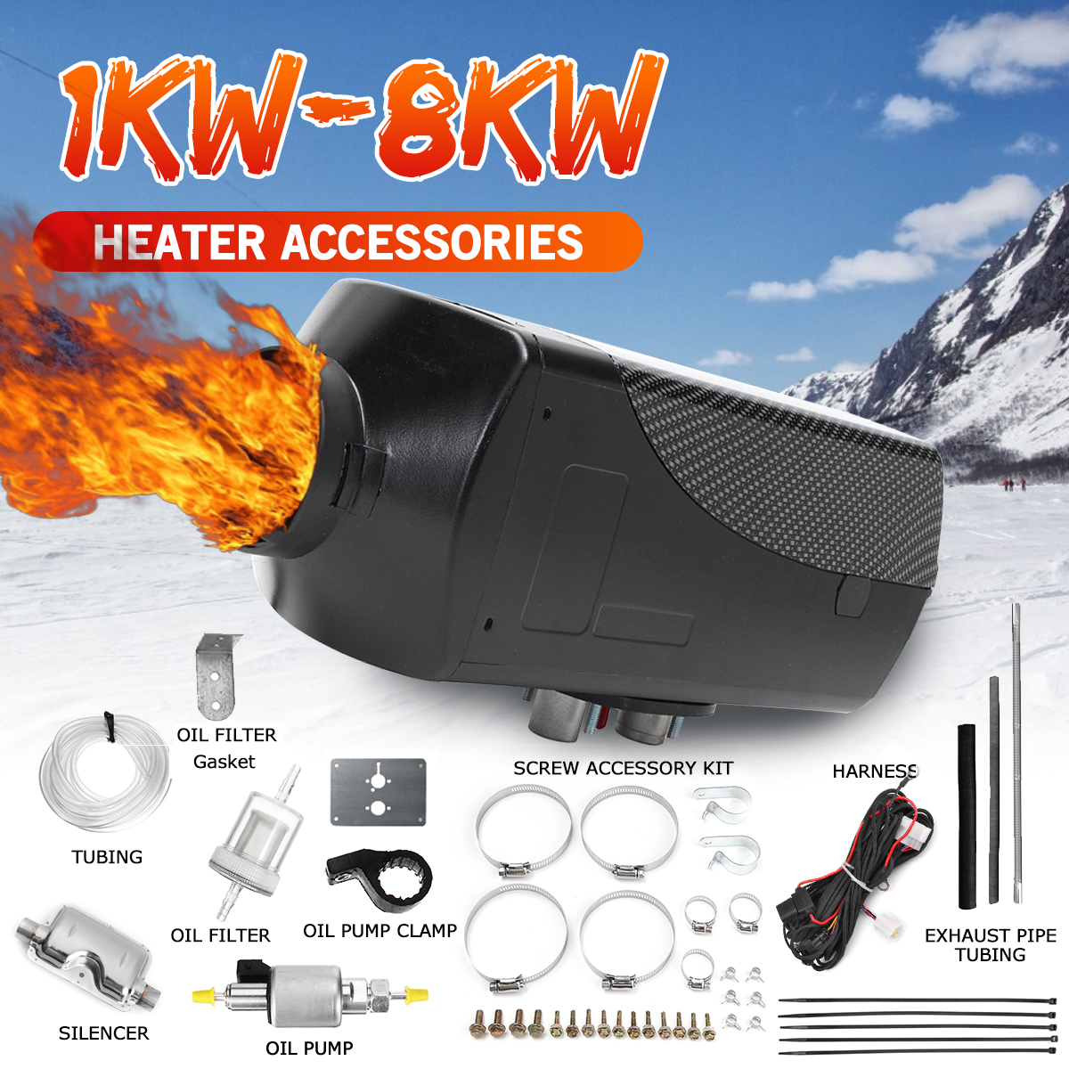 Full set of accessories for 1-8kw car heater accessories diesel fuel oil filter silencer outlet pipe for RV trailer auto parts