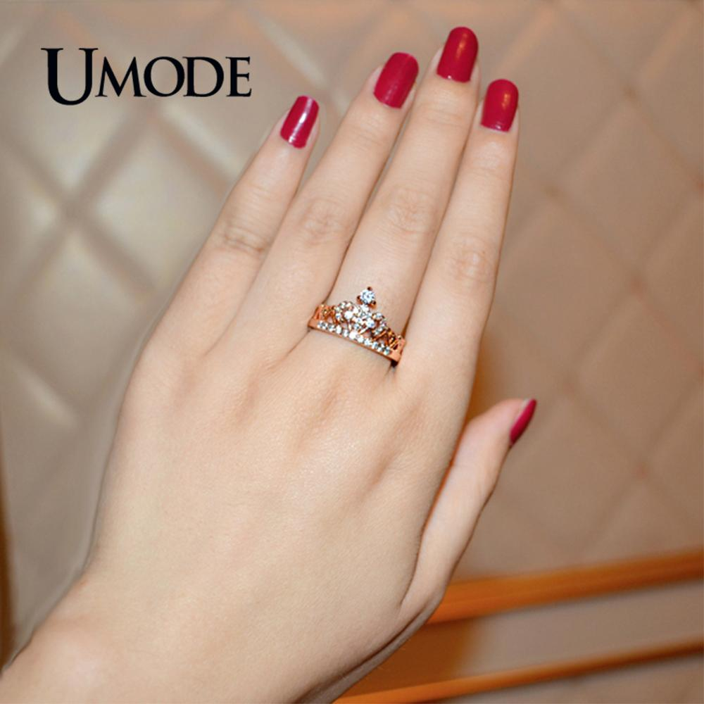 Купить с кэшбэком UMODE CZ Crystal Fashion Rose Gold Crown Rings for Women White Gold Engagement Wedding Ring Jewelry Anillos Mujer Bague AUR0217