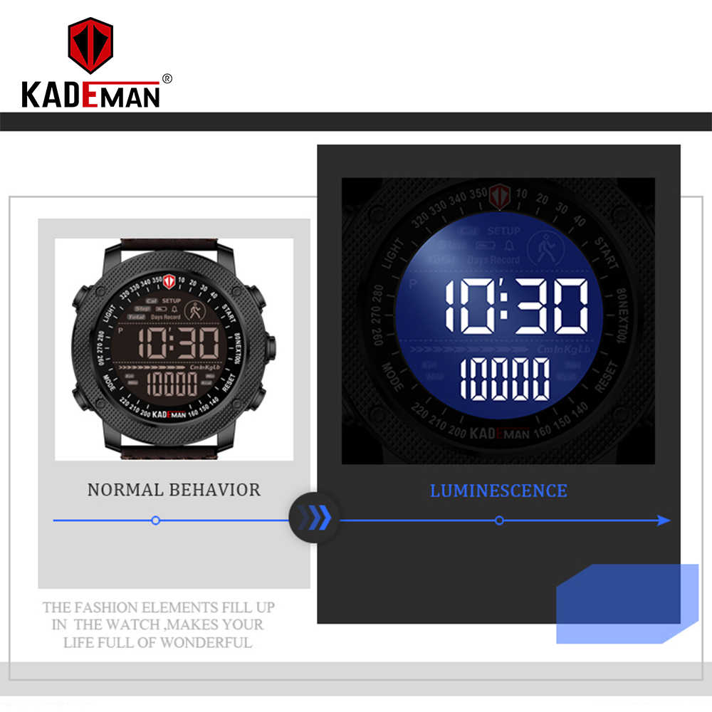 KADEMAN Männer Uhr Leisur Sport Digitale Armee Schritt Zählen Wasserdichte Leder Hand Uhr Top Marke Männlichen Armbanduhr Relogio Masculino