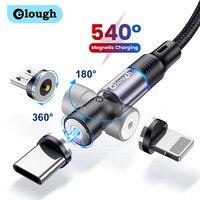 Elough – câble magnétique LED 3 en 1 USB type-c rotatif à 540 degrés, Charge rapide, compatible avec iPhone Xiaomi redmi