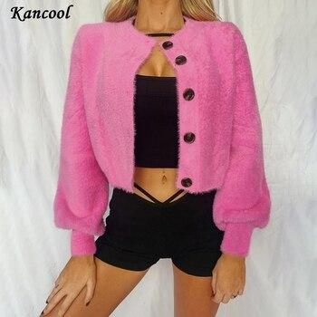 KANCOOL Women Cardigan Short Sweater Female 2020 Autumn Velvet Solid Coat Jacket Outerwear Wool Button Fleece Top Streetwear button through solid outerwear