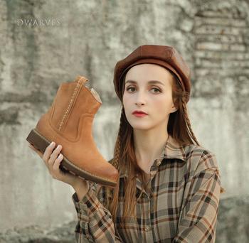 Женские кожаные ботильоны ручной работы Dwarves, короткие коричневые/черные ботинки с боковой молнией