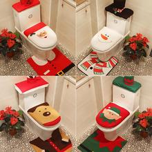 3Pcs Xmas  Christmas Santa Snowman Elk Bathroom Toilet Seat Tank Cover Mat Decor Set