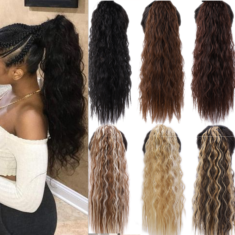 "AOSI 22"" 18""  Long Afro Curly Synthetic Drawstring Ponytail Hairpieces Women Fake Pony Tail Hair Extension Clip Heat Resistant"