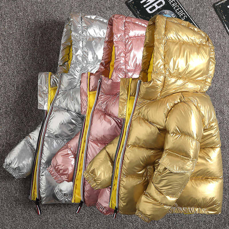 CYSINCOS Boys Coats Winter Jacket Kids Down Cotton Coat Waterproof Snowsuit Pink Gold Silver Jacket Hooded Girls Down Coats