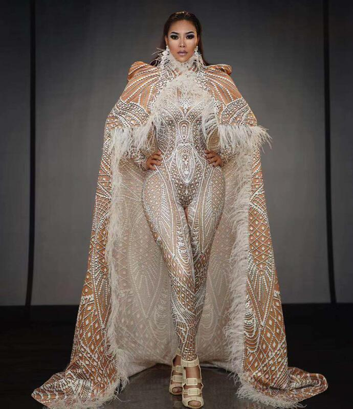 Fashion Design Pattern Jumpsuit Cloak Outfit Stretch Stage Costume Dance Perforamance Wear Bar Leggings Nude White Bodysuit