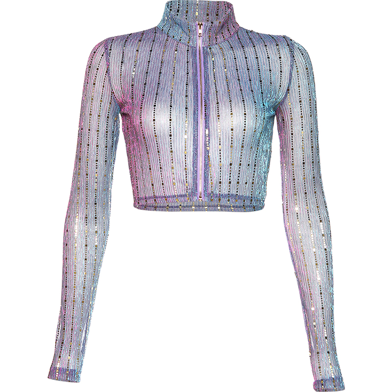 Stage Costumes For Singers Multicolored Sequined Jacket Top Rave Clothes Women Nightclub Dancer Festival Outfit Show Wear DT1953