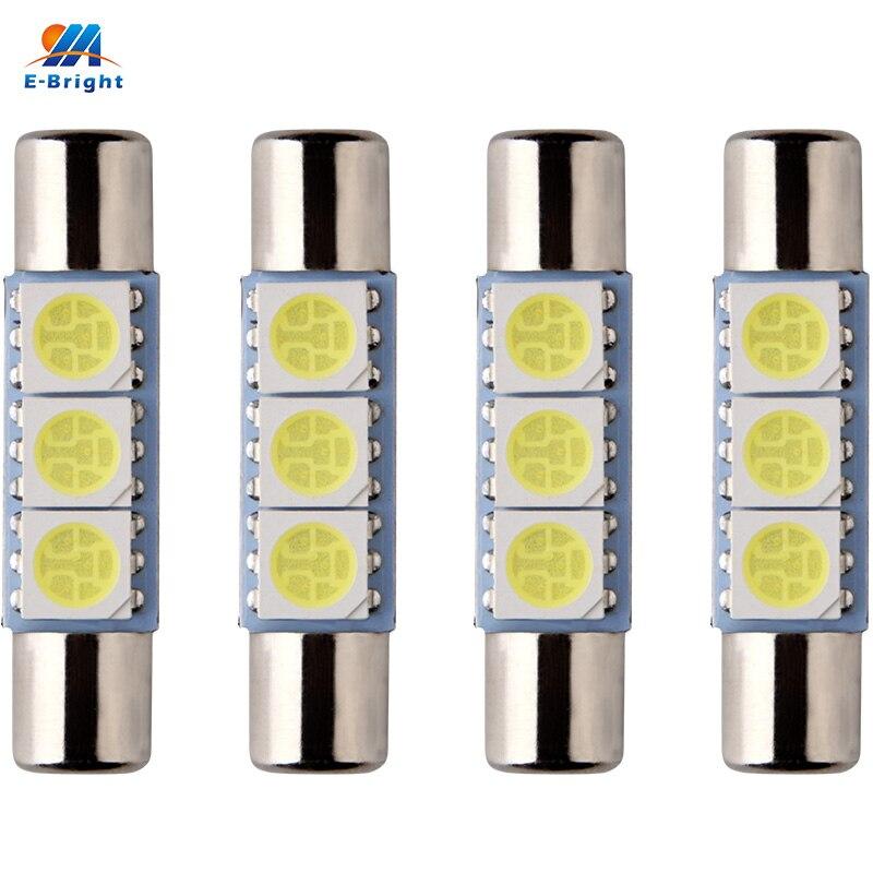 Автомобильные светодиодные лампы YM E-Bright, 4 шт., C5W 5050, 28 мм, 31 мм, 3 SMD, внутренняя лицензия, светодиодные лампы 12 В, белые, красные автомобильные ...