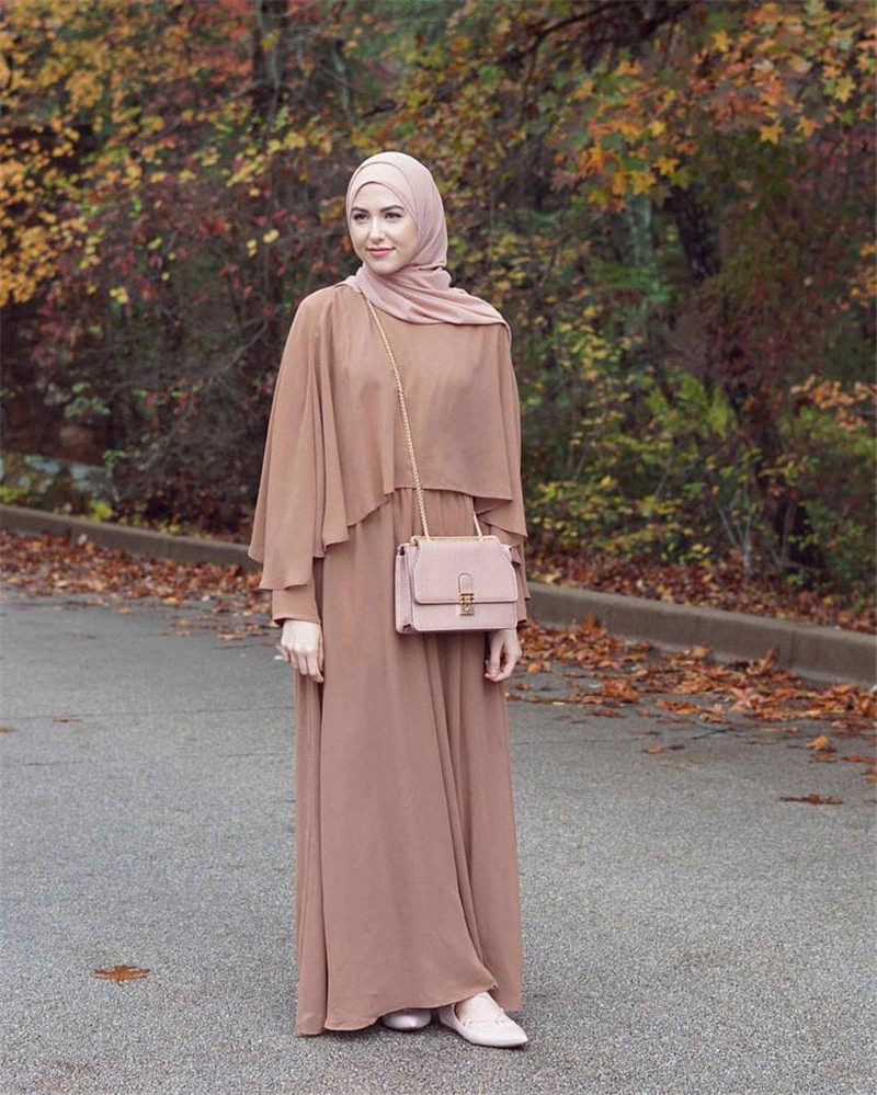 Muslim Abaya Gown Dress Long Sleeve Traditional Clothing Turkish Arabic Eid Mubarak NAVY  KHAKI Free Shipping
