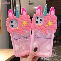 Custodia a stelle liquide in Silicone morbido unicorno rosa sabbie mobili 3D per Iphone 12 Mini 11 Pro 8 7 6S 6 Plus 5 SE XS Max XR X custodie
