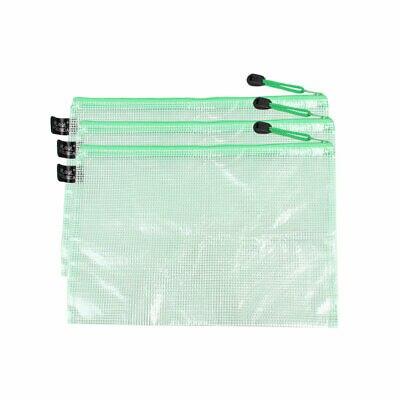 Plastic Zipper Water-resistant Mesh B5 Paper File Bag Clear Green 29x20.5cm 3pcs