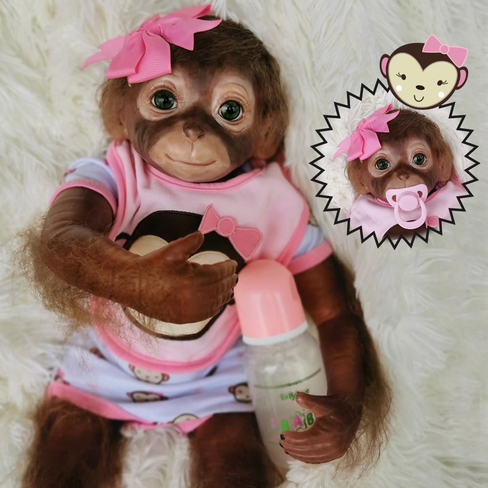 silicone reborn baby monkey girls boys 50cm 100% handmade reborn Monkey very soft silicone vinyl flexible Collectible art doll