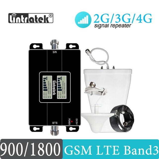 Lintratek Signal booster 2G 900 3G 1800 Cellular Signal Booster GSM DCS 1800MHz Repeater UMTS Amplifier 3G Antenna 10m Kit #40
