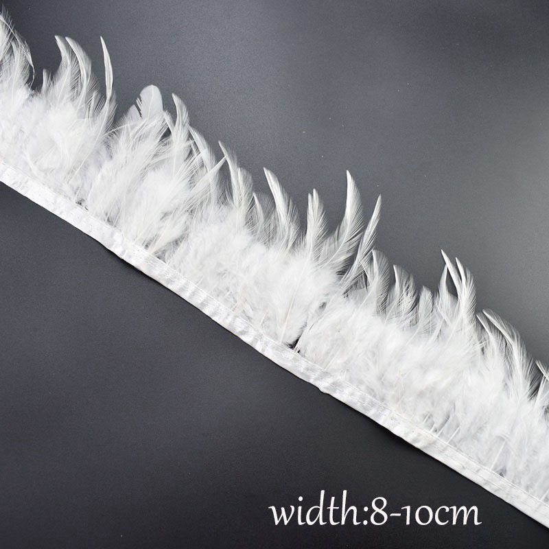 1Meters Natural Rooster Tail Feathers Trims Fringe for Needlework Sewing Clothing Plumas 8 10cm DIY Home Party Dress Decorative in Feather from Home Garden