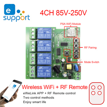 wireless remote control ac 85 250v 1 channel receiver module two remote control for lamp switch and electromechanical equipment eweLink Smart Remote Control Wireless WiFi Switch Module 4CH DC/AC 7V-32V 5V 85V 220V 250V RF Receiver 10A Relay For Alexa IFTTT