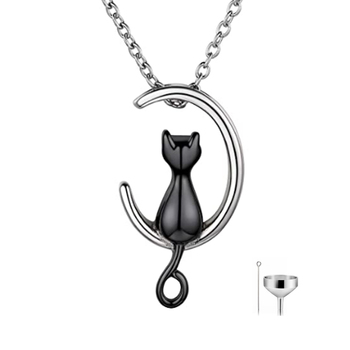 Moon Cat Urn Necklace for Women Men Stainless Steel Cremation Jewelry for Memorial Ashes Waterproof Necklace Keepsake Pendant image