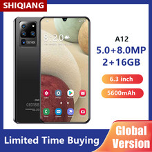 Versão global smartphones shiqiang a12 6.3 Polegada 2 + 16gb telefone móvel 5600mah 5mp + 8mp água drop screen telefones celulares