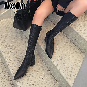 Sexy Fashion Autumn Winter Boots Women Pointed Toe Cross Tied Knee High Heels Shoes High Quality Pu Leather Long Boots p654