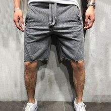 Shorts Cotton Men Sweatpants Trouser-Leg-Hem Fabric Side-Pockets Drawstring Waist-Knee-Length
