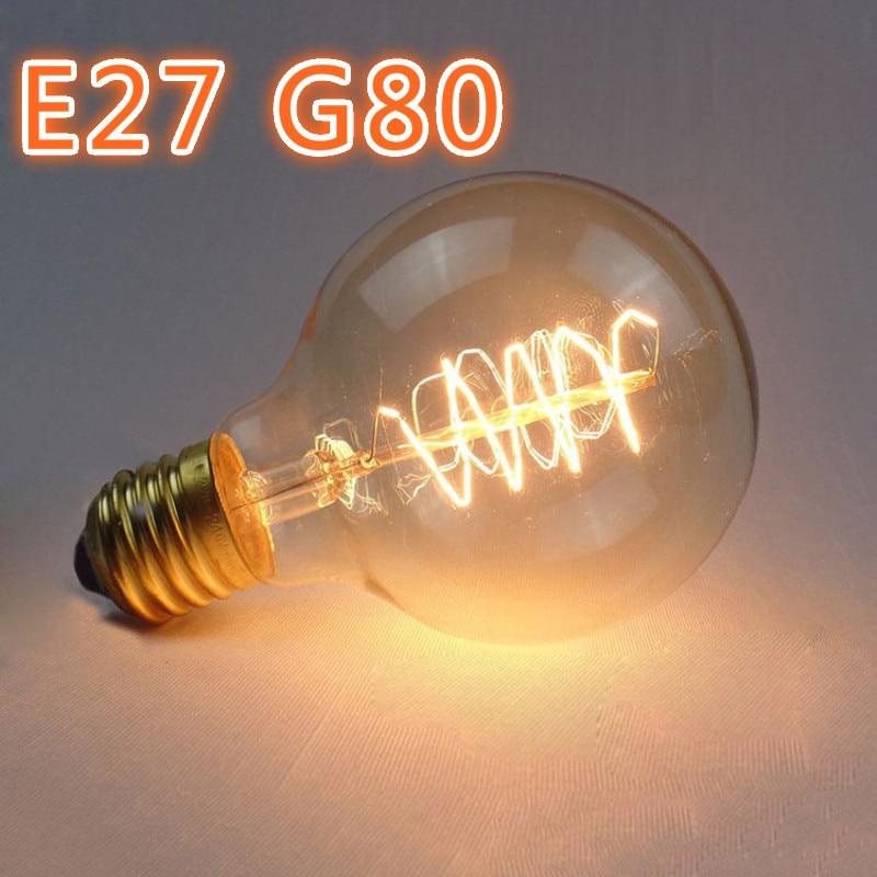 G80 Wire-wound 40W Edison Retro Tungsten E27 Bulb Vintage Industrial Retro Edison LED Bulb Light Lamp Antique Style Home Lights