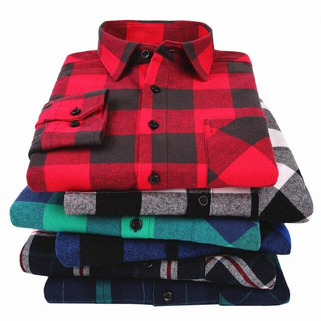 100% Cotton Flannel Mens Plaid Shirt Slim Fit Spring Autumn Male Brand Casual Long Sleeved Shirts Soft Comfortable 4XL 5XL 6XL