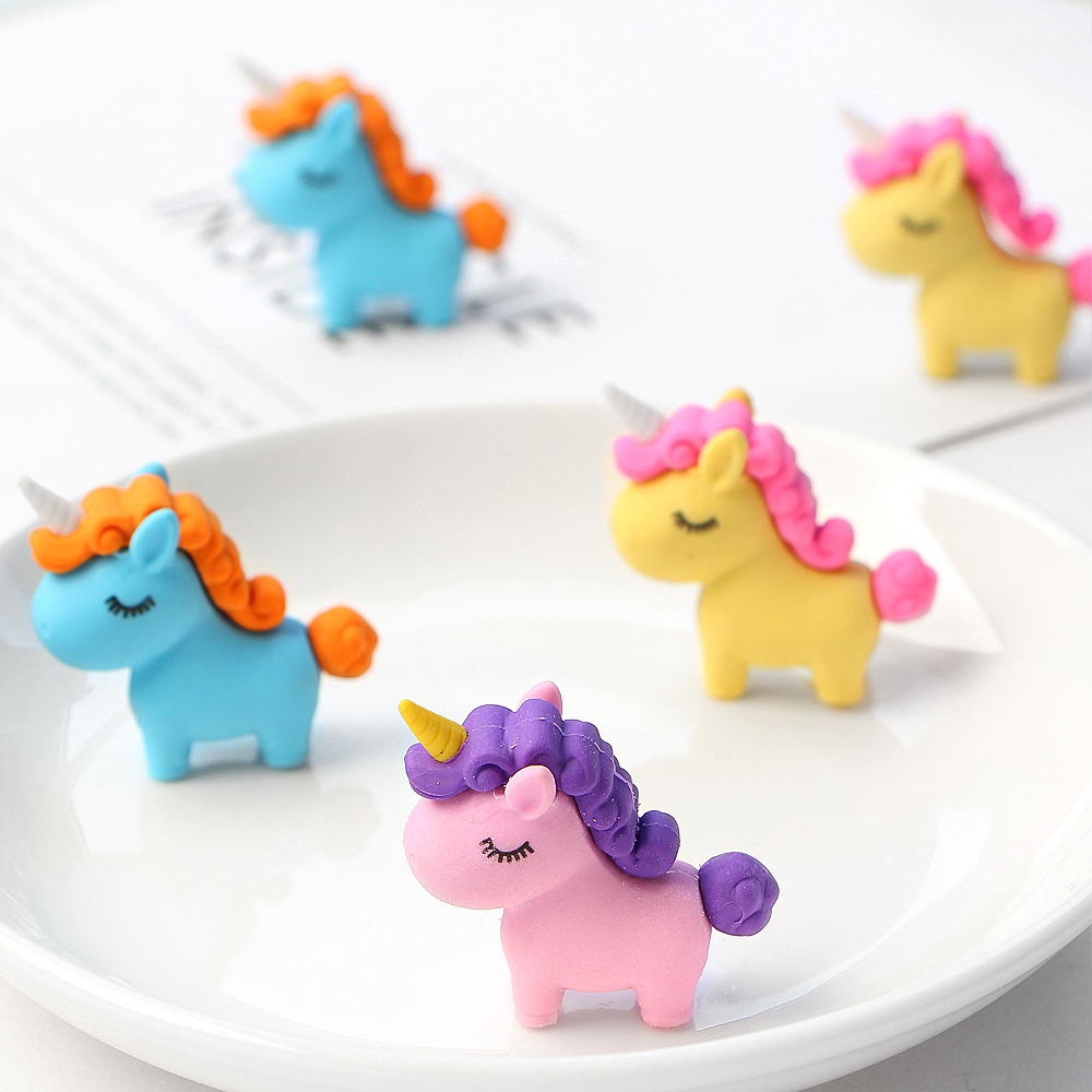 3Pcs/lot Kawaii Fat Unicorn Eraser  Modified Eraser Cute Cartoon Creative Detachable Pencil Office Children