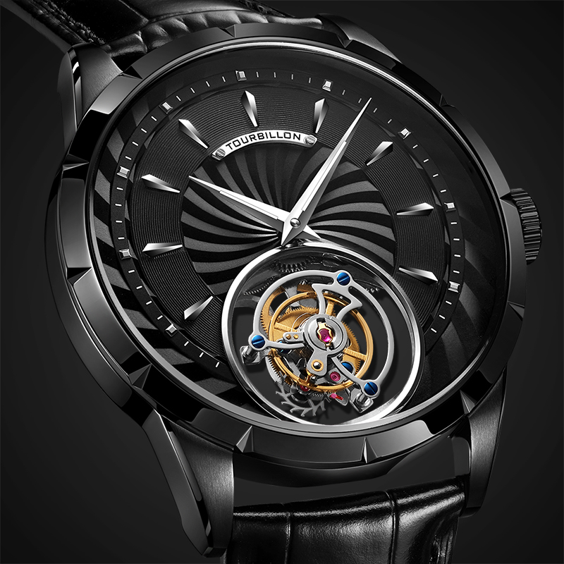 Guanqin Real Tourbillon Watch Men Skeleton Mechanical Watch 2019 Top Brand Luxury Waterproof Business Clock Reloj Hombres