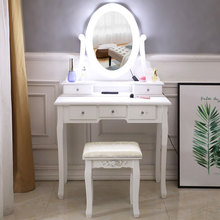 Makeup Dressing Table With 5 Drawer Mirror Bulb Vanity Set With Lighted Mirror Cushioned