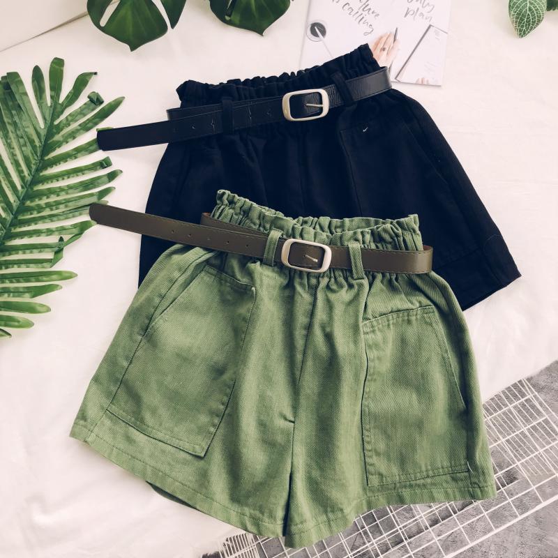 Autumn New Casual Women Shorts Solid Loose Wide Leg Female Girls Shorts High Waist Solid Green Khaki Girls Shorts Top Quality