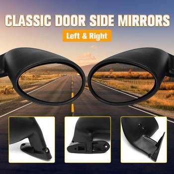 FUBANGBM California Style Universal Car Classic Retro Door Wing Side Mirror Rearview Vintage Matte Black L+R