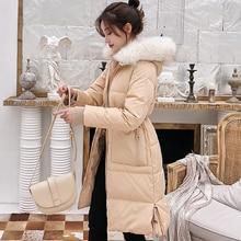Korean Fashion Down Jacket Woman Fur Hooded Women Coats Jackets Warm Parka Puffer OL Plus size Black