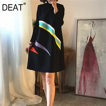 DEAT High Quality 2020 spring New Fashion Loose Casual Small High Collar Long Sleeve Striped Print Pleated Women's Dress YE027