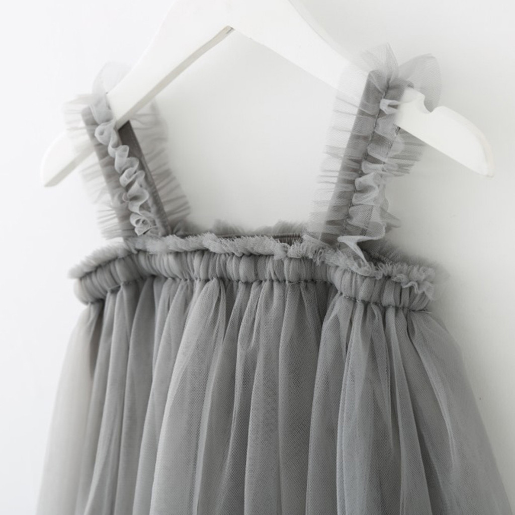 Toddler Children Kids Baby Girls Princess Clothes Strap Tulle Solid Party Dress