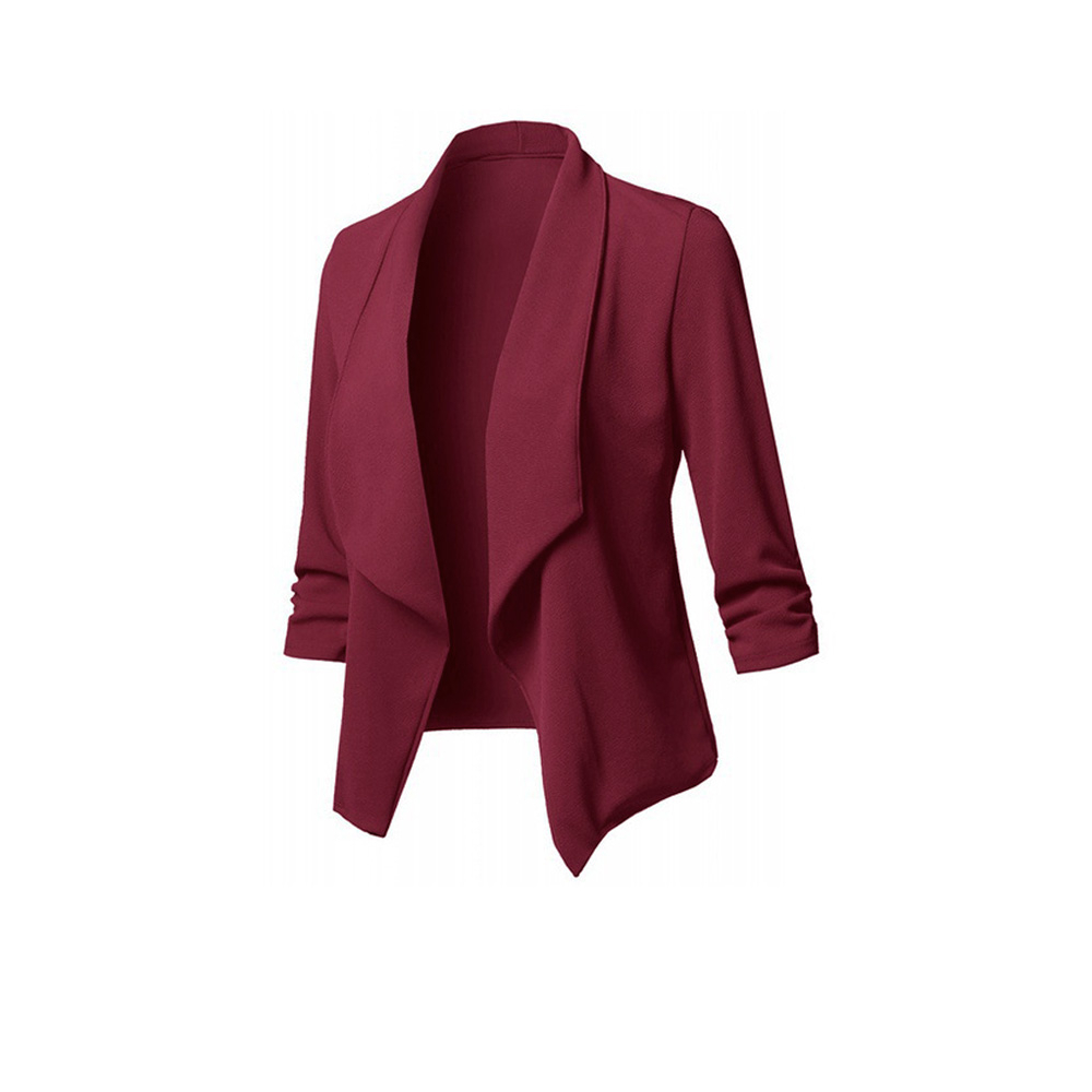 ROSEGAL Plus Size Shawl Collar Open Front Blazer Solid Color Flyaway Blazer Asymmetric Length Long Sleeve Blazer Spring 2019