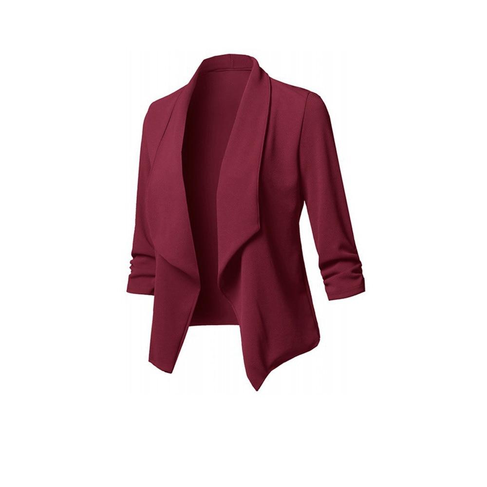 ROSEGAL Plus Size Shawl Collar Open Front Blazer Solid Color Flyaway Blazer Asymmetric Length Long Sleeve Blazer Spring 2019