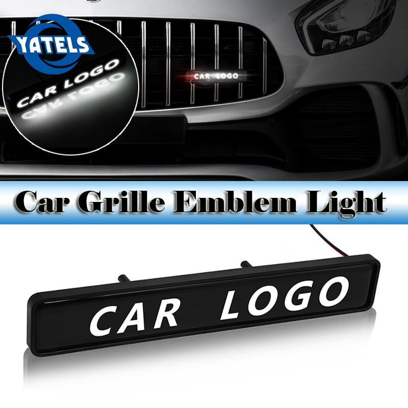 3D Car decoration LED lights Car Logo sticker badge Car stickers body grill For Nissan Mazda Renault Hyundai Honda Jaguar Sline image