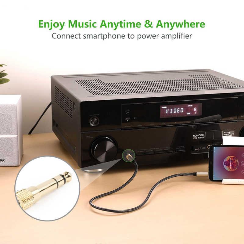 Nouveau 3.5mm prise femelle à 6.5mm prise mâle casque stéréo prise casque voiture sans fil Bluetooth Microphone Audio adaptateur convertisseur
