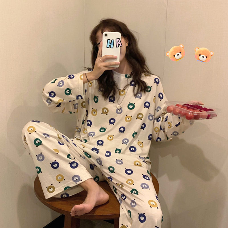 Pajamas Women Long Sleeve Set Color White Bear Set M -Xxl