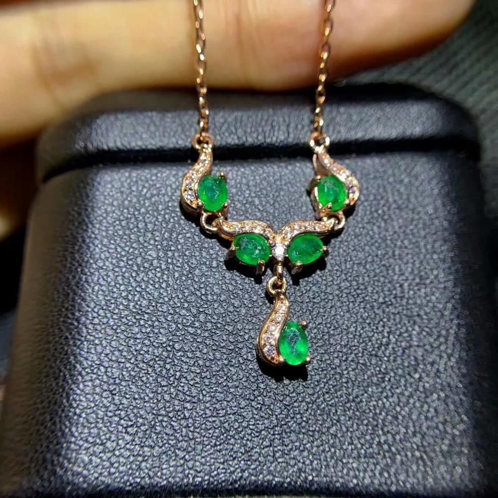 SHILOVEM 925 sterling silver real natural Emerald pendants classic fine Jewelry women wedding new gift 3 4mm dz0304187agml in Pendants from Jewelry Accessories