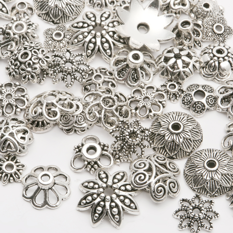 130pcs/lot Tibetan Silver Plated Color Bead Caps End Caps 4-15mm for Jewelry Making