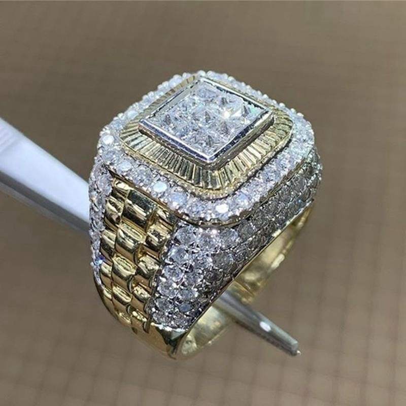 Crystal Ring Square Micro Pave Rhinestone Iced Golden Rings Men HIP Hop Style Jewelry Drop Shipping In Stock US Size6-13(China)