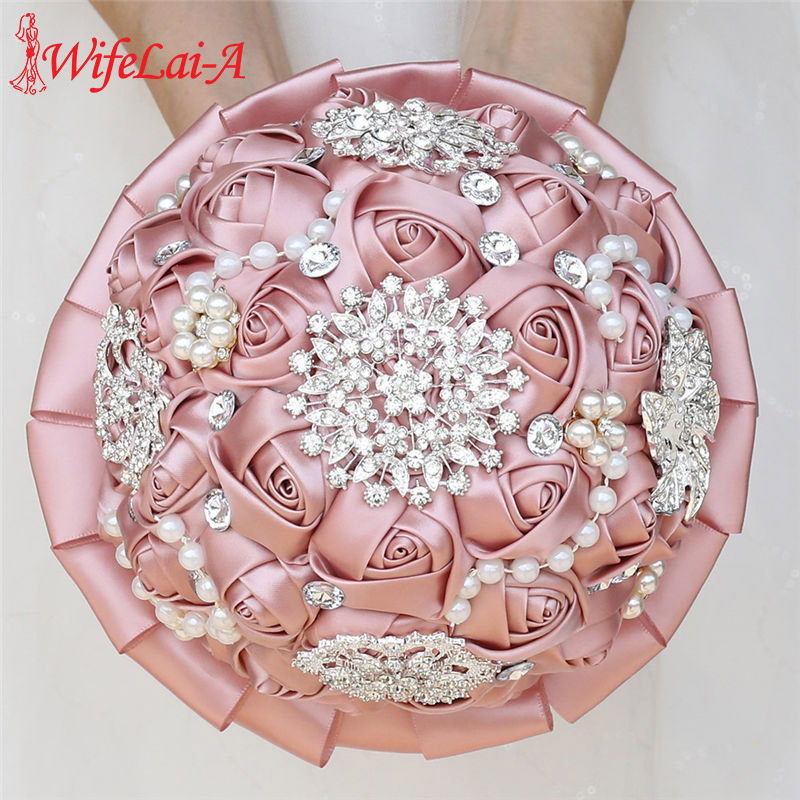 WifeLai-A Champagne Ribbon Rose Holding Flower Romantic Artificial Flower Bridesmaid Bouquet Wedding Bouquet With Crystal W3217D