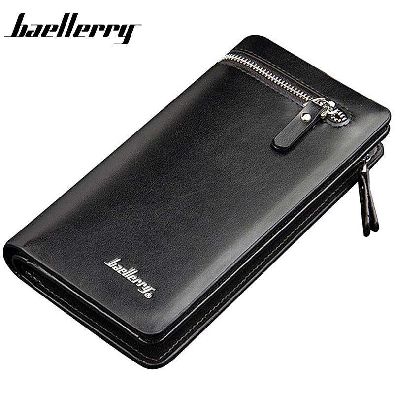 Baellerry Men Wallets Long Business Zipper PU Leather Large Capacity Phone Pocket Men Purse Multifunction Classic Male Wallet