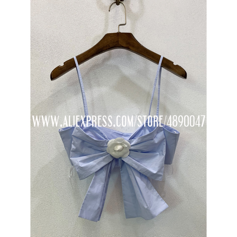 Big bow decoration wrapped chest strap high quality women's Sexy sweet 2020 spring summer base shirt 100% cotton short top
