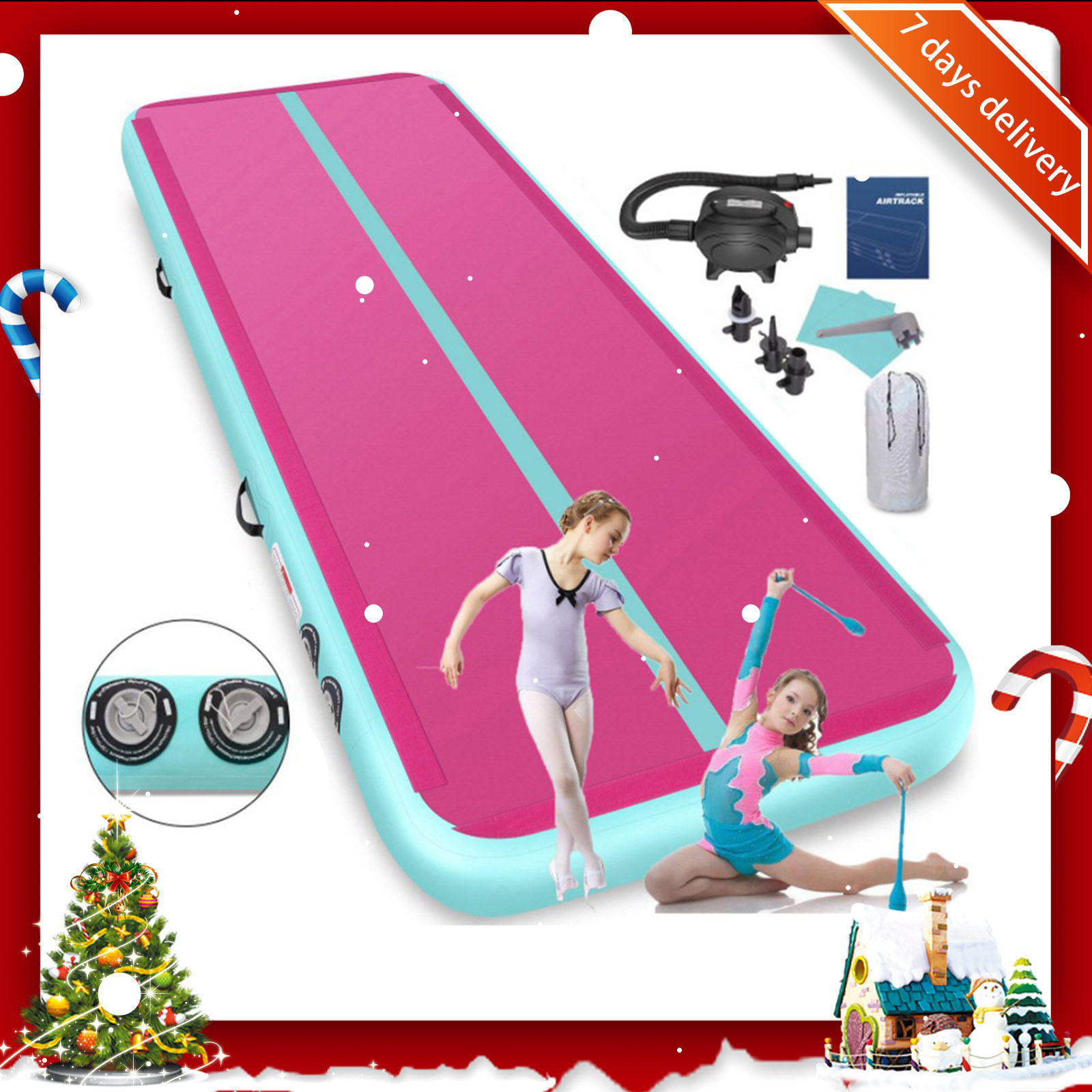 Rimdoc Air Track Gymnastics Mat Pink Color Inflatable Gym Mat Airtrack Olympics Gym Mat Electric Air Pump Christmas Floor Mats