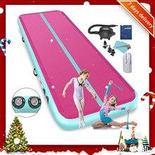 Rimdoc Air track Gymnastics Mat Pink Color Inflatable Gym Mat Airtrack Olympics Gym Mat Electric Air Pump Christmas Floor Mats