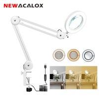 NEWACALOX USB عدسة LED مكبرة زجاج طاولة قابلة للطي مصباح 5X المكبر للجمال/لحام/القراءة مضيئة العدسة الثالثة