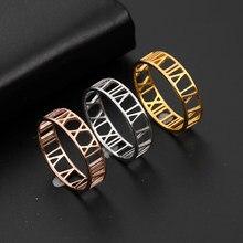 Skyrim Römischen Ziffern Edelstahl Ring für Frauen Männer Klassische Rose Gold Farbe Casual Paar Ringe Schmuck Jahrestag Geschenk